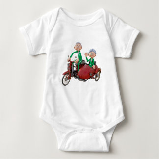 Older Couple on a Moped with Sidecar Baby Bodysuit