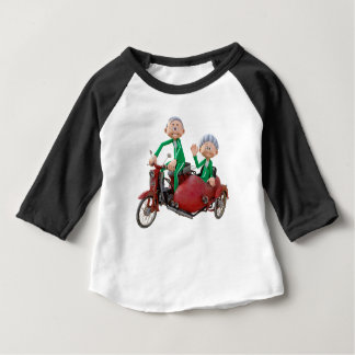 Older Couple on a Moped with Sidecar Baby T-Shirt