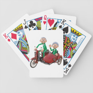 Older Couple on a Moped with Sidecar Bicycle Playing Cards