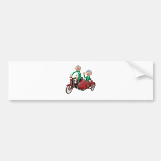 Older Couple on a Moped with Sidecar Bumper Sticker