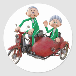 Older Couple on a Moped with Sidecar Classic Round Sticker
