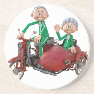 Older Couple on a Moped with Sidecar Coaster