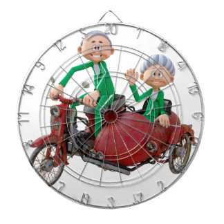 Older Couple on a Moped with Sidecar Dartboard