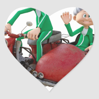 Older Couple on a Moped with Sidecar Heart Sticker