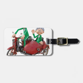 Older Couple on a Moped with Sidecar Luggage Tag