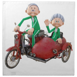 Older Couple on a Moped with Sidecar Napkin