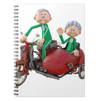 Older Couple on a Moped with Sidecar Notebook