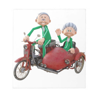 Older Couple on a Moped with Sidecar Notepad