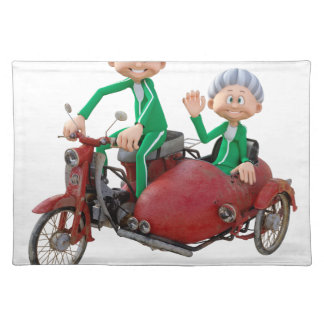 Older Couple on a Moped with Sidecar Placemat