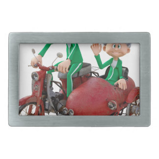 Older Couple on a Moped with Sidecar Rectangular Belt Buckle