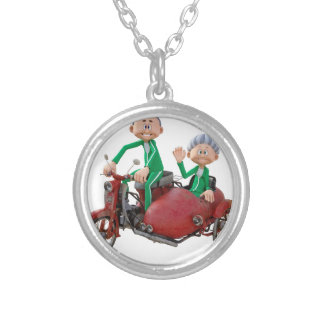 Older Couple on a Moped with Sidecar Silver Plated Necklace