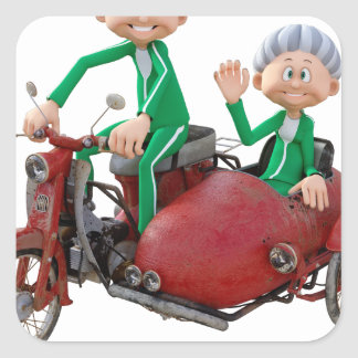 Older Couple on a Moped with Sidecar Square Sticker