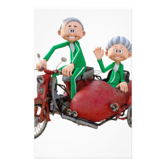 Older Couple on a Moped with Sidecar Stationery