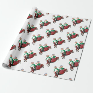 Older Couple on a Moped with Sidecar Wrapping Paper