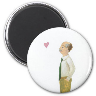 Older man contemplating love fun unique art Robert Fridge Magnets
