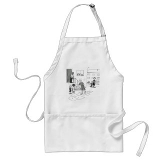Older woman skips playing hopscotch with kids adult apron