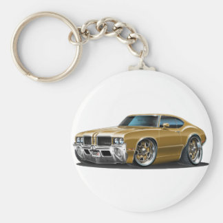 Olds Cutlass Brown Car Basic Round Button Key Ring