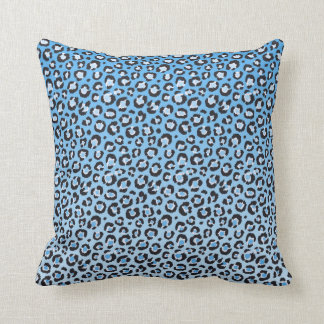Oldschool Leopard Print in Blue and White Cushion
