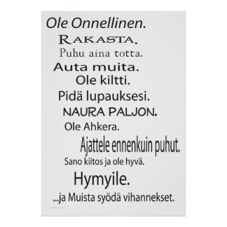 Ole Onnellinen juliste - Be Happy poster Finnish