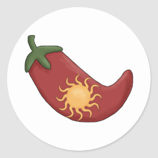 Ole!  Sun Stuffed Red Chili Pepper Classic Round Sticker