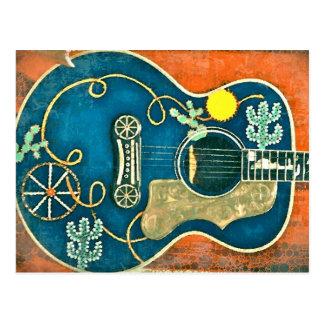 Ole Western Guitar Postcard