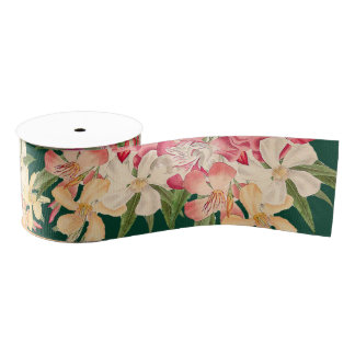 Oleander Floral Flowers Tropical Ribbon Grosgrain Ribbon