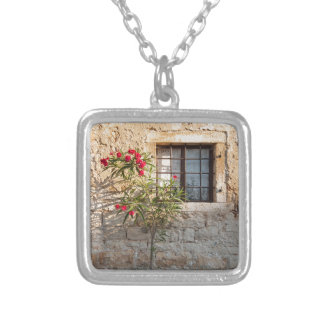 Oleander in Flower-pot, Croatia Silver Plated Necklace