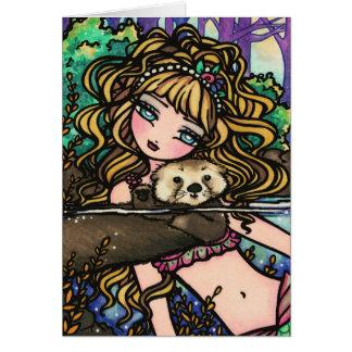 """""""Oliana's Otter"""" Fantasy Mermaid Sea Otter Fairy Card"""