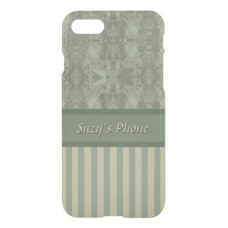 Olive and Beige Abstract and Stripes-Classy Design iPhone 8/7 Case