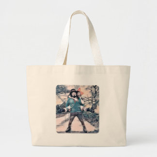 Olive and Dingo on the frozen stairs Large Tote Bag