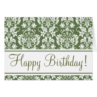 """Olive and White """"Birthday Card"""" Card"""