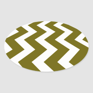 Olive and White Fast Lanes Oval Sticker