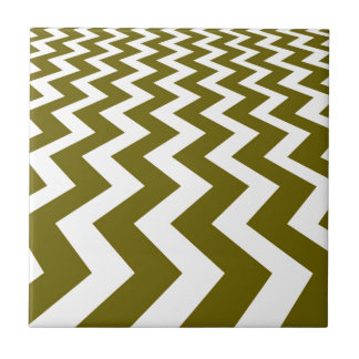 Olive and White Fast Lanes Small Square Tile