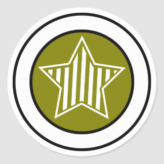 Olive and White Star Sticker
