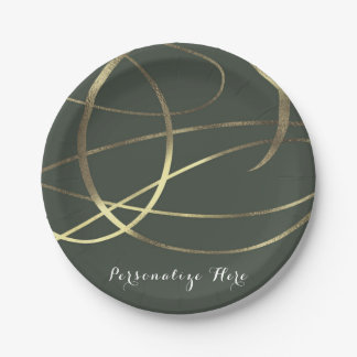 Olive Army Green & Gold Faux Foil Custom Party Paper Plate