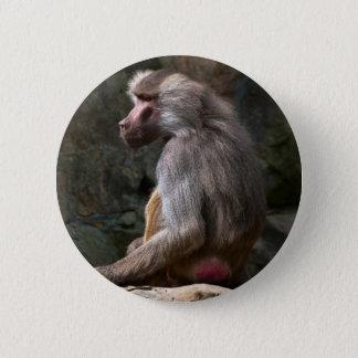 Olive Baboon 6 Cm Round Badge