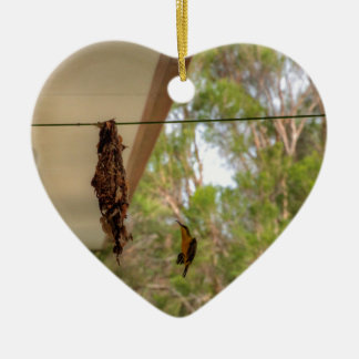 OLIVE BACKED BIRD QUEENSLAND AUSTRALIA CERAMIC ORNAMENT