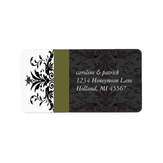 Olive Black Damask  Address Labels -