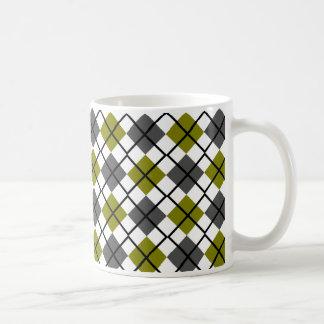 Olive, Black, Grey on White Argyle Print Mug