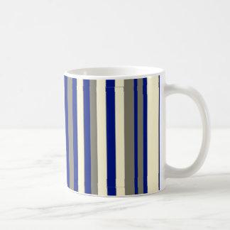 Olive,blue,pale yellow stripes basic white mug