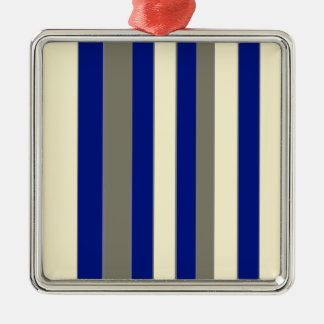 Olive,blue,pale yellow stripes Silver-Colored square decoration