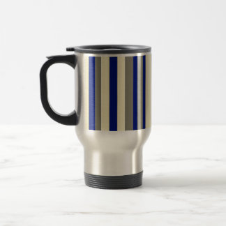 Olive,blue,pale yellow stripes stainless steel travel mug