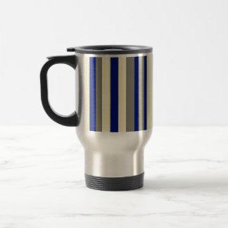 Olive,blue,pale yellow stripes travel mug