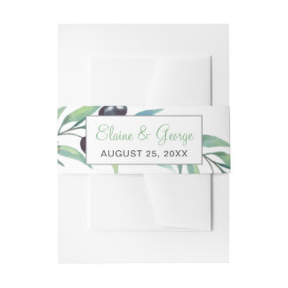 Olive Branch Botanical invitations belly band Invitation Belly Band
