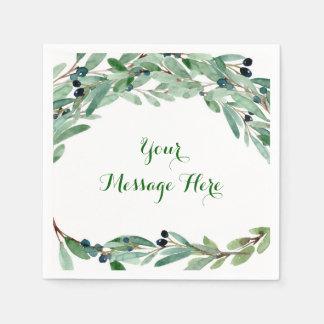 Olive Branch Floral Bridal Shower Disposable Serviette