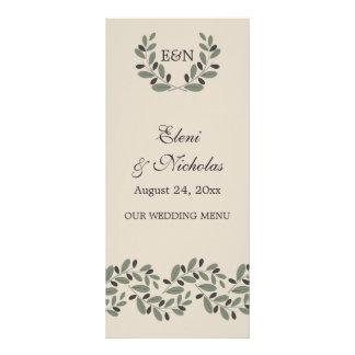 Olive branch garland and wreath wedding menu card