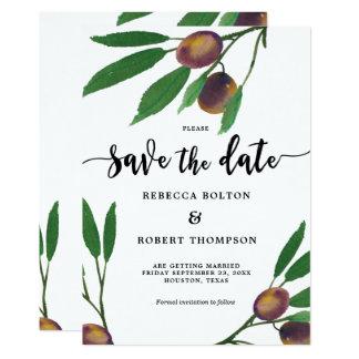 olive branch laurel modern save the date invite