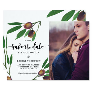 olive branch laurel modern save the date photo card