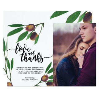 olive branch modern love and thanks photo card