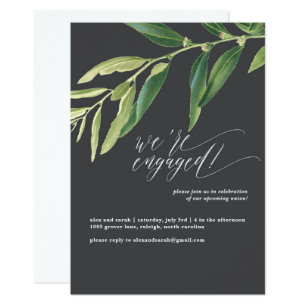Olive Branch Moody Illustrated Engagement Party Invitation